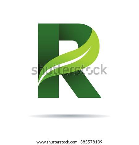 green eco letters r logo with leaves symbol alphabet botanical natural