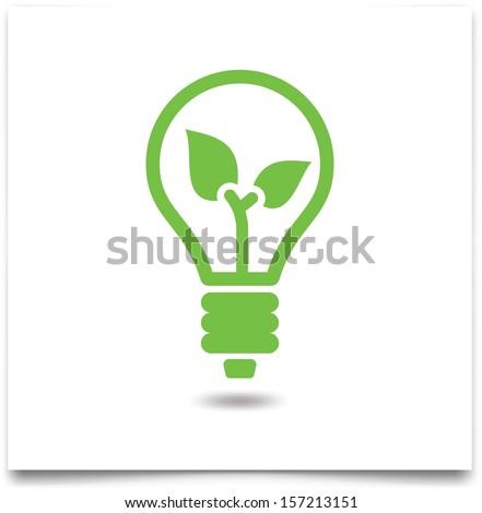 green eco light bulb, ecology concept  - stock vector