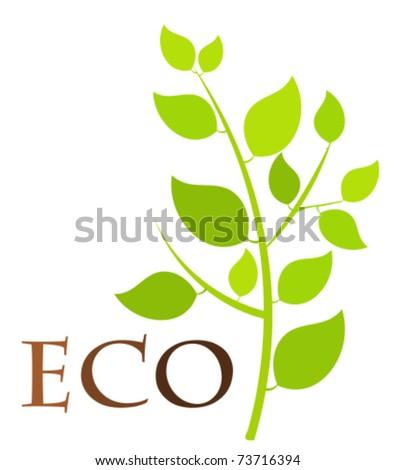 Green eco plant - vector illustration - stock vector
