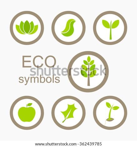 Green Eco symbols. Vector illustration - stock vector