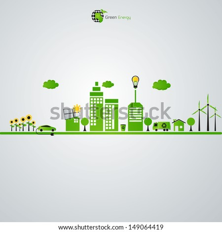 green eco town - abstract ecology town illustration