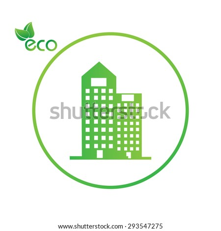 green eco town - abstract ecology town illustration - stock vector