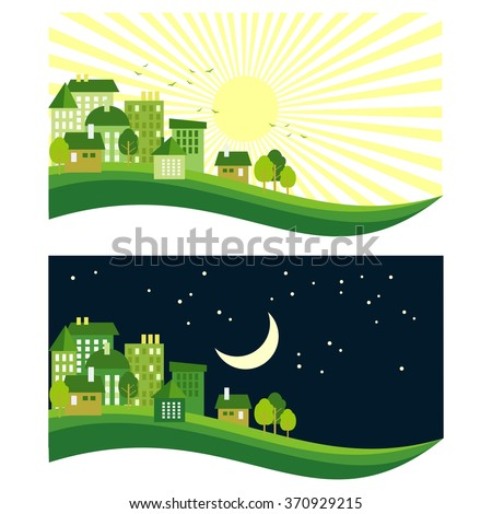 green eco town, day and night, flat vector concept - stock vector