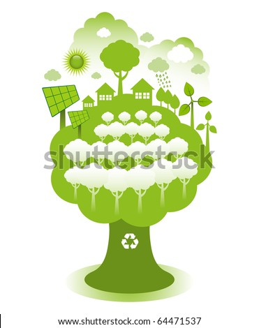 Green eco town on a tree concept. Green housing with solar panels, wind farm and planting more trees. - stock vector