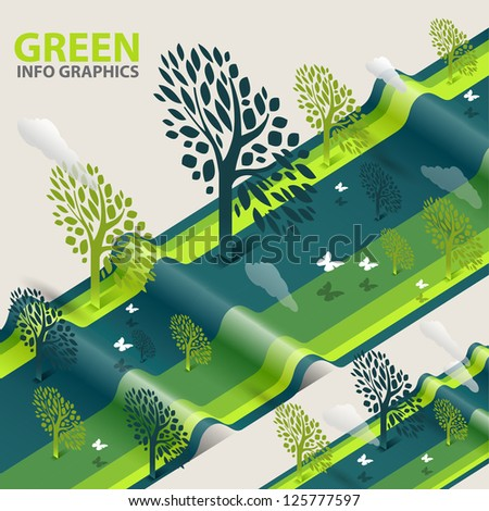 green eco tree info graphics  - abstract ecology tree illustration