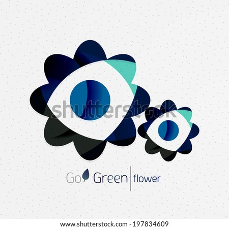 Green eco unusual background concept - llustration of flowers - stock vector