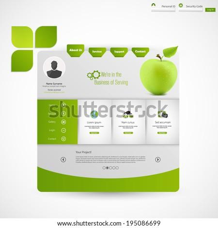 Green eco website  - stock vector