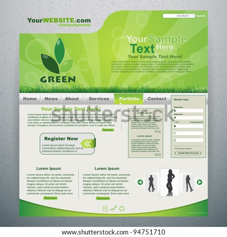 Green eco website - stock vector