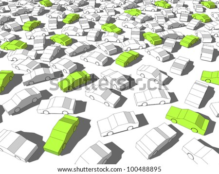 """Green """"ecological"""" cars standing out from others - stock vector"""