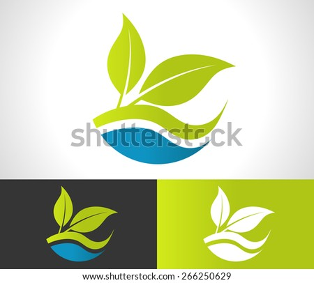 Green ecological logo with leaf icon - stock vector
