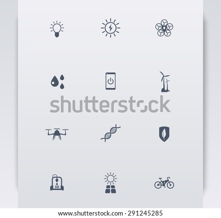 Green ecological modern technologies, blue simple icons, vector illustration, eps10, easy to edit - stock vector