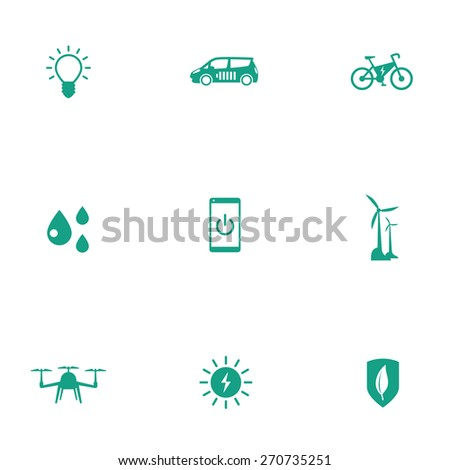 Green ecological modern technologies flat icons, vector illustration, eps10, easy to edit - stock vector
