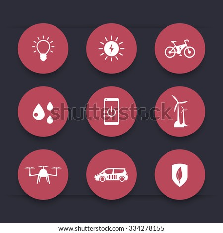 Green ecological modern technologies, round red icons, vector illustration - stock vector