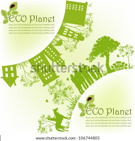 Green ecological planet - stock vector