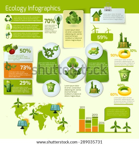 Green ecology and bio with leafs infographics vector illustration - stock vector