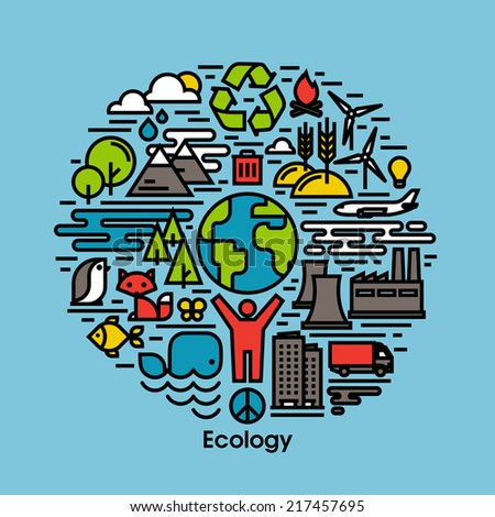 Green, ecology and environment flat line icons set - stock vector