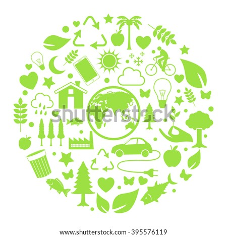 Green, ecology and environment icon in circle - stock vector