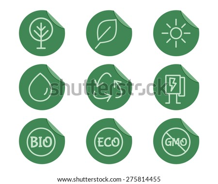 Green, Ecology and environmental protection outline icon set. Thin line design. Eco technologies. On flat green stickers. Isolated on white background. Vector illustration - stock vector