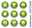 Green ecology buttons - stock vector