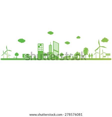 Green ecology City environmentally friendly  - stock vector
