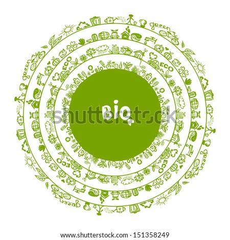 Green ecology concept, circle frame for your design - stock vector