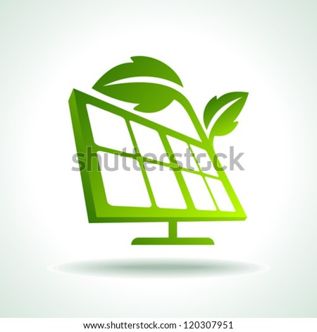 Green ecology energy planet vector concept with solar panels - stock vector