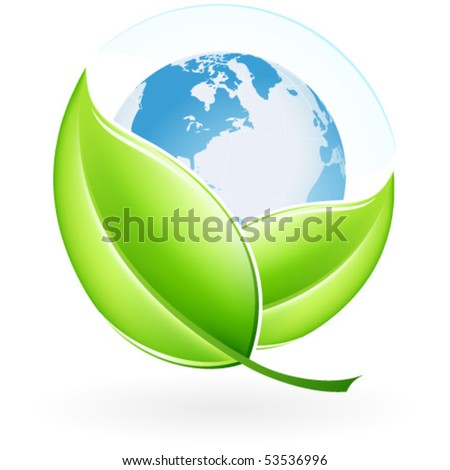 Green ecology icon with leaves and Earth for your design - stock vector