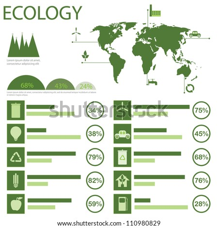 Green ecology info graphics collection, charts, world map, graphic vector elements - stock vector