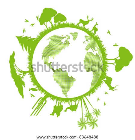 Green ecology planet vector background with trees around globe
