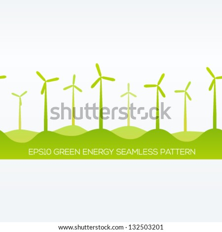 Green ecology seamless pattern with windmills. Vector illustration. - stock vector