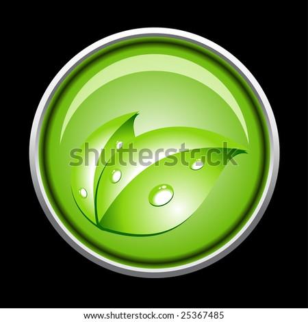 Green ecology vector button - stock vector