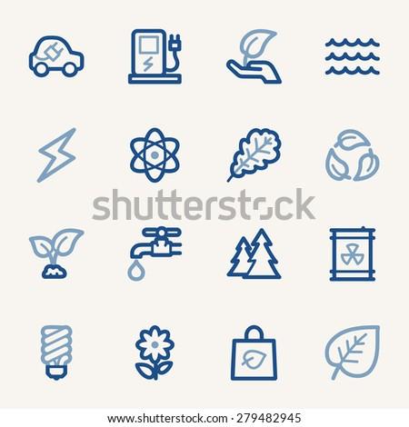Green ecology web icons set - stock vector