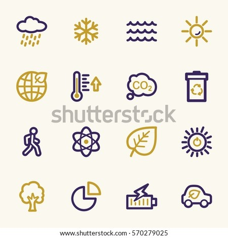 Green ecology web icons set
