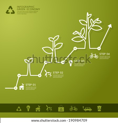 Green economy concept - Leafs and tree infogaphics  - stock vector