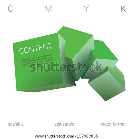 Green edition of a scalable adjustable eps10 3d vector abstract geometric minimal composition of four  isolated three dimensional cubes in empty space as a 3d web design element or for universal use - stock vector