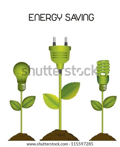 green electric bulb with plug, energy saving. vector illustration - stock vector