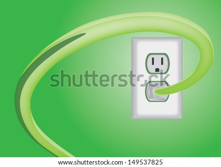 green electric plug and power outlet isolated - stock vector