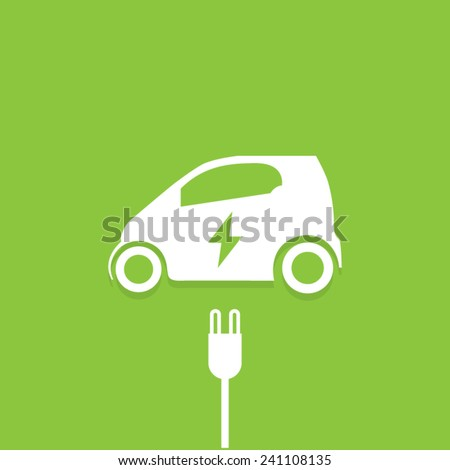 Green Electric Powered Car Charging Vector Icon - stock vector