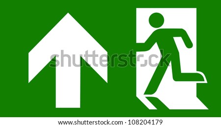 Green emergency exit on white - stock vector
