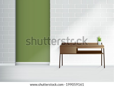 green empty interior brick wall with white vases