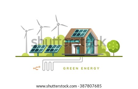 Green energy, alternative energy, renewable energy, ecology. Flat design vector concept illustration. - stock vector
