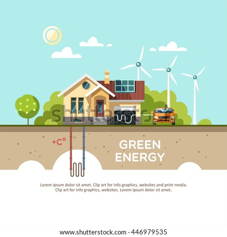 Green energy an eco friendly traditional house. Solar, wind, geothermal power. Vector concept illustration. - stock vector