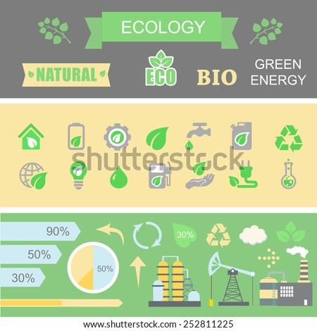 Green energy and ecology Infographic set with charts and other elements.