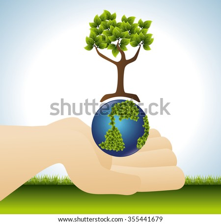 Green energy and ecology theme design, vector illustration graphic
