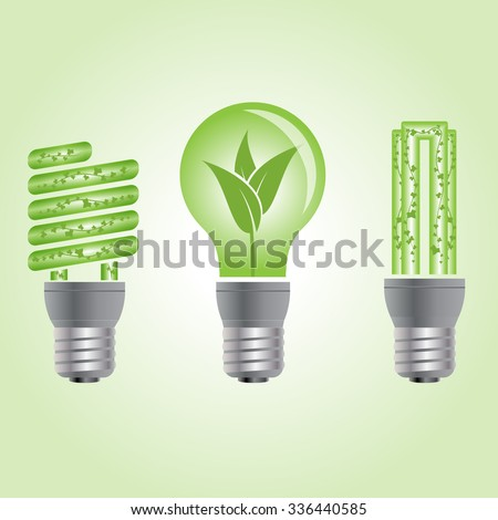 Green energy bulbs with leaves.