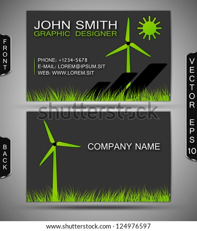 Green energy business card stock vector 124976597 shutterstock green energy business card reheart Image collections