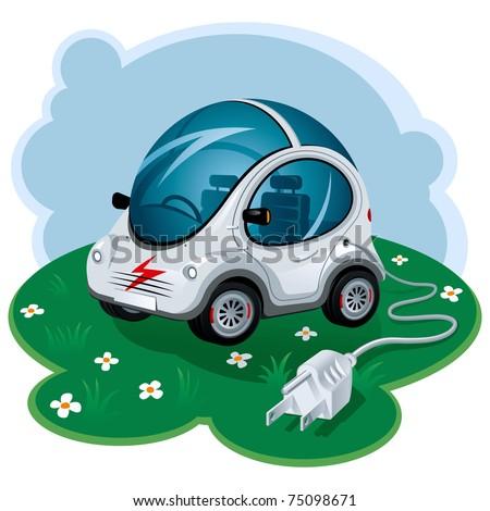 Green Energy Car. Vector Illustration - stock vector