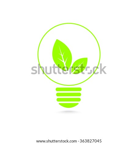 Green energy concept,ecology bulb, leaf inside light bulb, isolated background, vector illustration