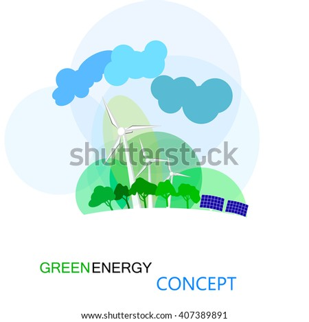 Green energy concept, ecologycal future of earth. wind turbines and solar panels, eco-friendly background - stock vector