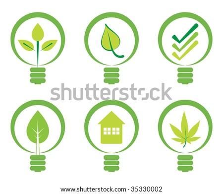 Green energy concept - Power saving light bulbs. - stock vector